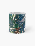 tema astratto con vortice fluido di luce e colori di tonalità blu su tazza
