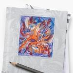 adesivo per copertina con tema astratto formato da forme confluenti in arancione e blu