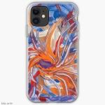 custodia per telefono cellulare con tema astratto formato da forme confluenti in arancione e blu