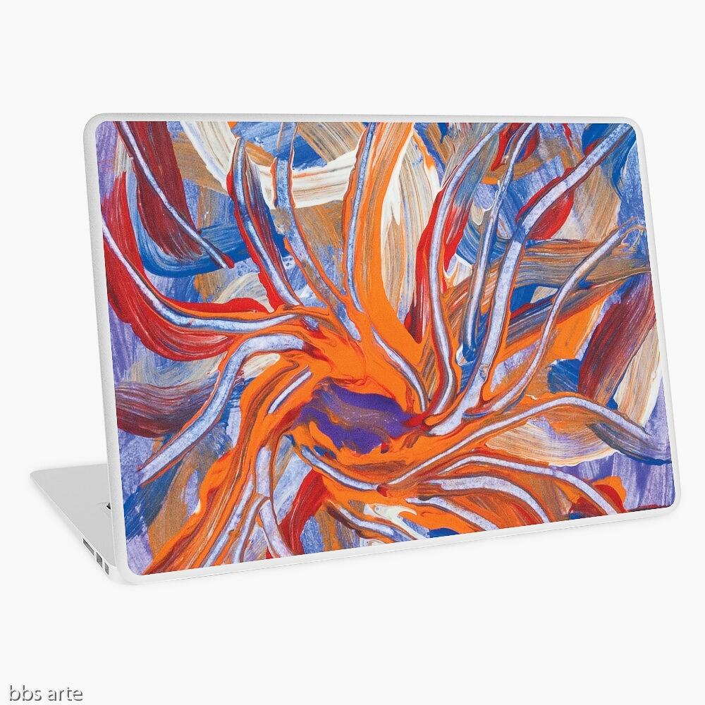 guscio per per computer portatile con tema astratto formato da forme confluenti in arancione e blu