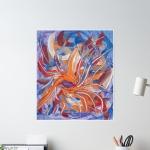 poster con tema astratto formato da forme confluenti in arancione e blu