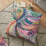 motivo astratto concentrico della natura su cuscino da pavimento