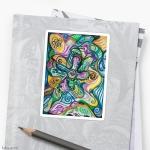 adesivo sticker con design astratto ondulato con forme curve variopinte e linee arrotondate in toni di blu, giallo, verde, bianco, viola e nero