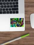 """adesivo sticker con motivo """"composizione di forme astratte""""con turbinio di verde, blu e viola fucsia con sfumature"""