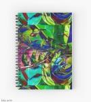 """agenda notebook spirale con motivo """"composizione di forme astratte""""con turbinio di verde, blu e viola fucsia con sfumature"""