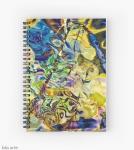 agenda notebook con spirale con motivo colorato diturbinii e forme astratte daitoni brillanti di blu e giallo