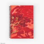 notebook con spirale dal tema astratto con toni di rosso profondo con forme fluide, macchie scure e linee gialle