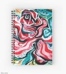 notebook con spirale con design natalizio astratto in toni di rosso, verde, bianco, nero e giallo