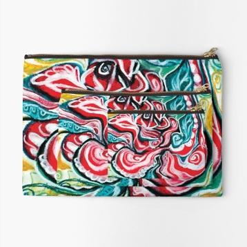 astuccio borsello con zipper con design natalizio astratto in toni di rosso, verde, bianco, nero e giallo