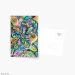 cartolina con design astratto ondulato con forme curve variopinte e linee arrotondate in toni di blu, giallo, verde, bianco, viola e nero