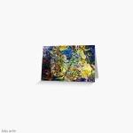 biglietto di auguri con motivo colorato diturbinii e forme astratte daitoni brillanti di blu e giallo