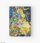 diario copertina rigida con motivo colorato diturbinii e forme astratte daitoni brillanti di blu e giallo