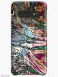 """cover custodia di Samsung Galaxy con design astratto """"flusso energetico fluido"""" con forme concentriche, in tonalità di bianco, marrone, rosso scuro, rosa, celeste, verde e nero"""
