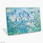 custodia case skin per laptop con tema astratto e delicato di impressioni d'oriente, in tonalità di blu e verde con forme fluttuanti