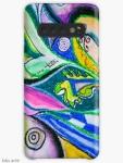 custodia case skin Samsung Galaxy con design astratto variopinto dinamico, con forme geometriche, linee curve e figure circolari