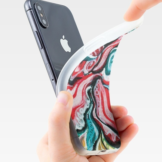 custodia per iPhone con design natalizio astratto in toni di rosso, verde, bianco, nero e giallo