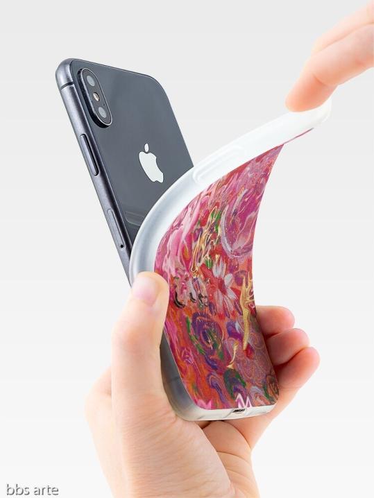 """custodia per iPhone, con vista laterale, con design astratto """"suggestione floreale"""" in sfumature di rosa e fucsia con toni di celeste, giallo, arancione, bianco, verde e viola"""