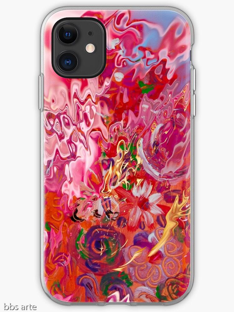 """custodia per iPhone, con vista frontale, con design astratto """"suggestione floreale"""" in sfumature di rosa e fucsia con toni di celeste, giallo, arancione, bianco, verde e viola"""
