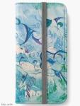 custodia portafoglio per iPhone chiusa con tema astratto e delicato di impressioni d'oriente, in tonalità di blu e verde con forme fluttuanti