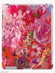 """custodia iPad cover con design astratto """"suggestione floreale"""" in sfumature di rosa e fucsia con toni di celeste, giallo, arancione, bianco, verde e viola"""