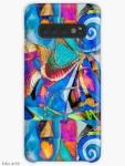 custodia case per Samsung Galaxy con vivace motivo astratto dinamico di forme tondeggianti e riccioli, in tonalità di blu, fucsia, arancione, bianco, nero, verde chiaro e giallo