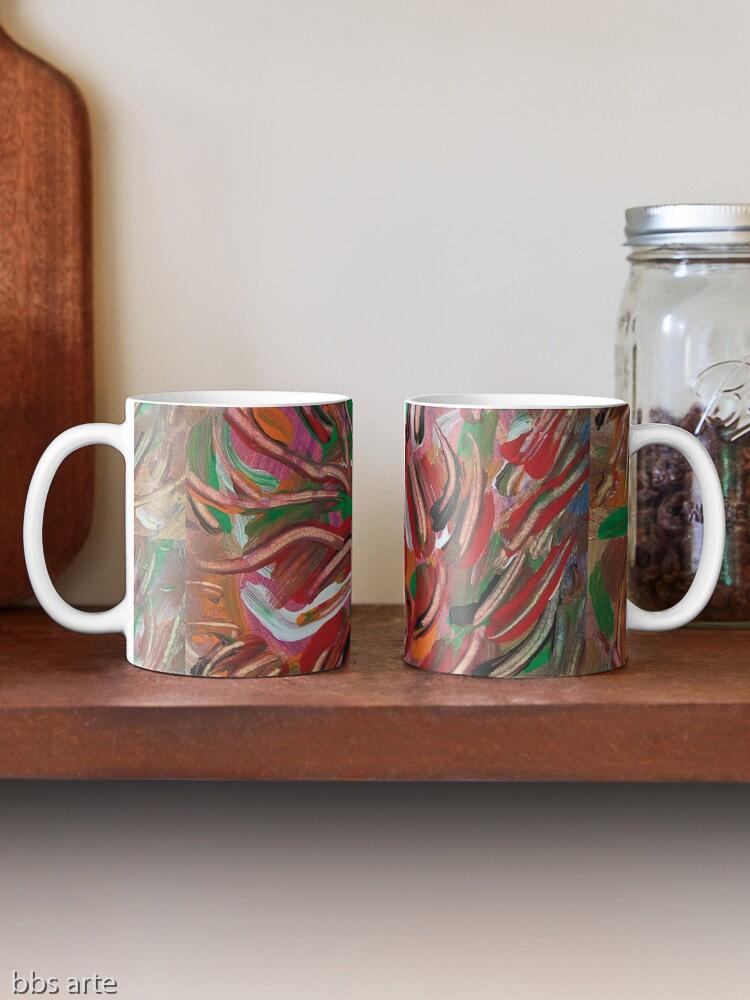 tazze classiche da caffè con motivo astratto di vortice fiammante dai toni di rosso, verde, bianco, nero, arancione e marrone