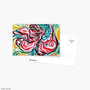 cartoline biglietti di auguri con design natalizio astratto in toni di rosso, verde, bianco, nero e giallo