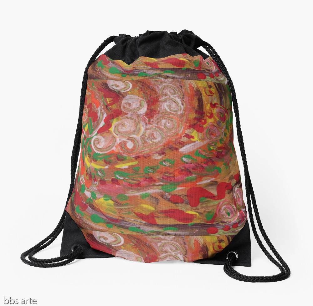 borsa morbida con laccetti dal design astratto dai colori natalizi con arricciature a vortice dai toni di rosso, verde, bianco, arancione, giallo e marrone
